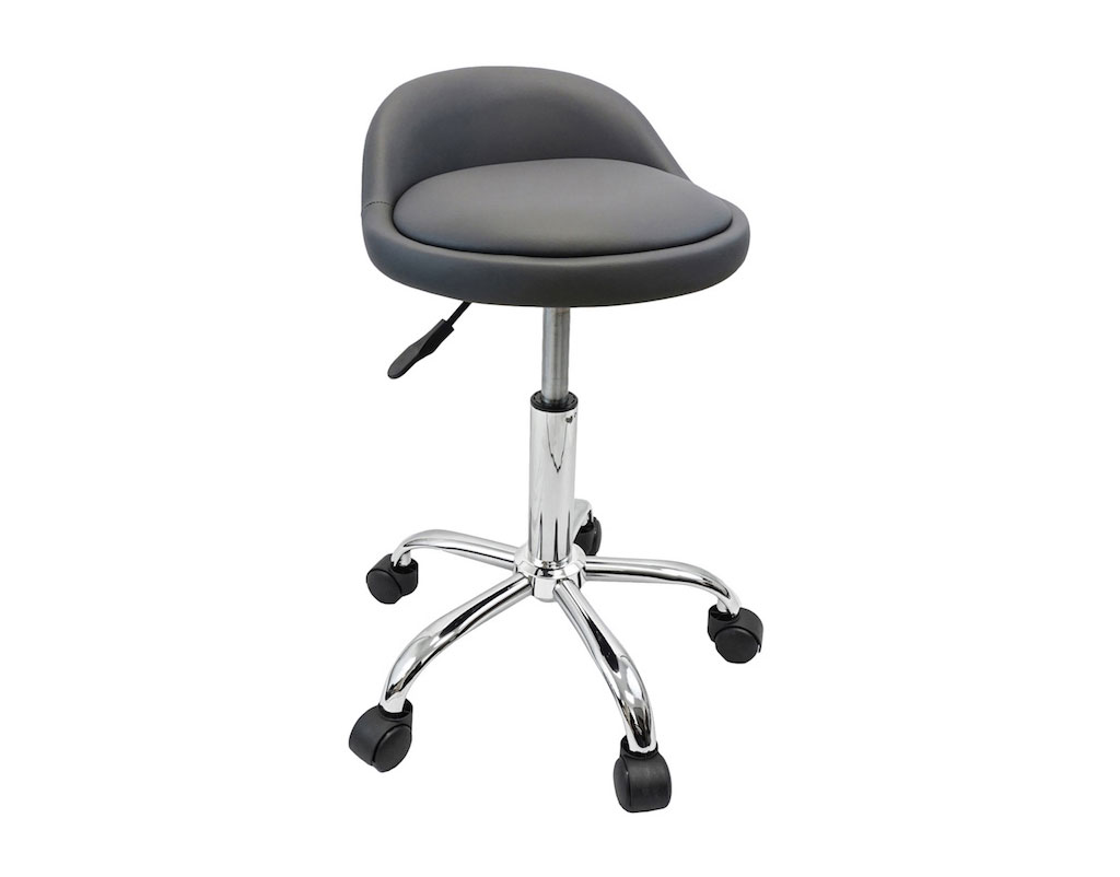 Salon Stool With Back Rest Saddle Hydraulic Spa Stool Gray