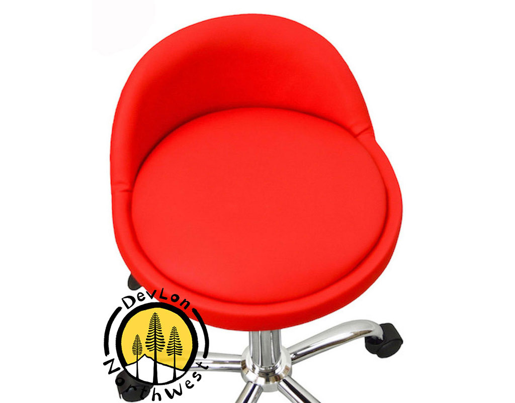 Salon Stool With Back Rest Saddle Hydraulic Spa Stool Red